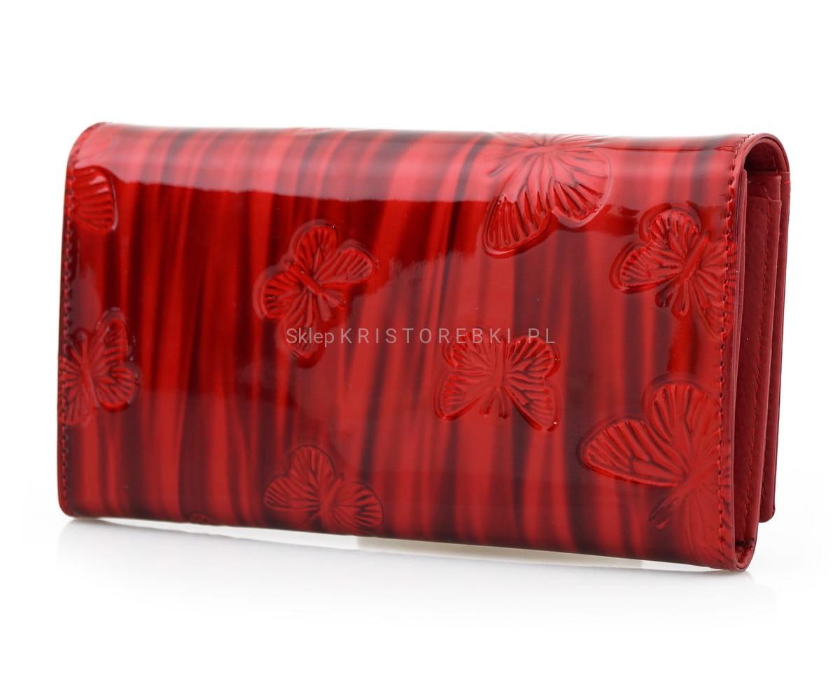 1c51e56c80351 LORENTI portfel skórzany motyle lakierowany P026 czerwony kristorebki.pl