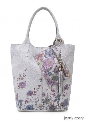 VERA PELLE torebka skórzana worek suwak kwiaty saszetka V266 kolory