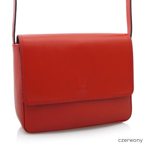 VERA PELLE torebka skórzana listonoszka klasyczna V109 czerwona