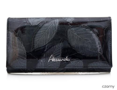 11cef9373bb73 ALESSANDRO PAOLI portfel skórzany lakier listki P036 czarny ...