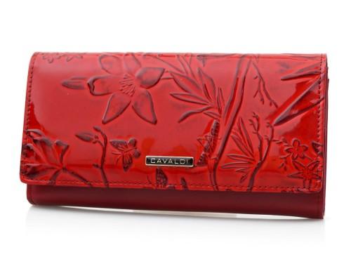 ca1a25dc1da99 CAVALDI portfel skórzany damski lakierowany kwiaty P058 czerwony ...
