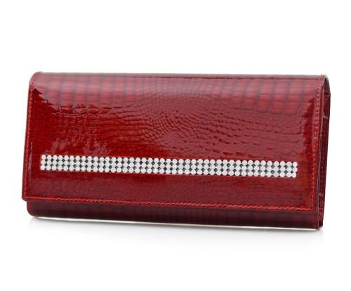 7b728906ab39d ALESSANDRO PAOLI portfel skórzany damski lakierowany cyrkonie P077 czerwony